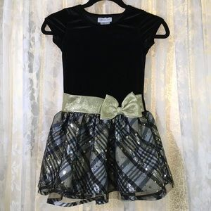Bonnie Jean Black/Gold Girls Dress